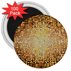 Yellow And Black Stained Glass Effect 3  Magnets (100 Pack)