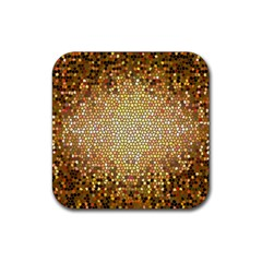 Yellow And Black Stained Glass Effect Rubber Square Coaster (4 Pack)