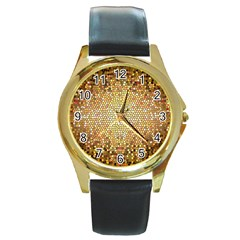Yellow And Black Stained Glass Effect Round Gold Metal Watch