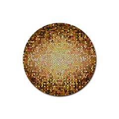 Yellow And Black Stained Glass Effect Rubber Round Coaster (4 Pack)