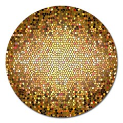 Yellow And Black Stained Glass Effect Magnet 5  (Round)