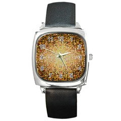 Yellow And Black Stained Glass Effect Square Metal Watch