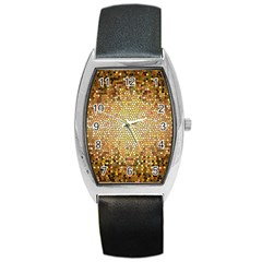 Yellow And Black Stained Glass Effect Barrel Style Metal Watch