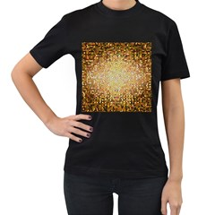 Yellow And Black Stained Glass Effect Women s T Shirt (black) (two Sided)