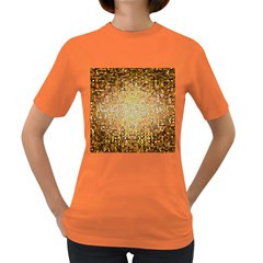 Yellow And Black Stained Glass Effect Women s Dark T-Shirt
