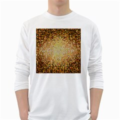 Yellow And Black Stained Glass Effect White Long Sleeve T Shirts