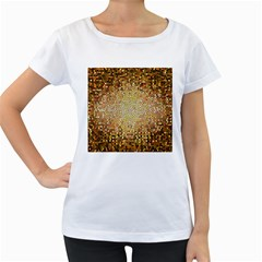 Yellow And Black Stained Glass Effect Women s Loose Fit T Shirt (white)