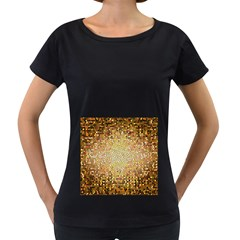 Yellow And Black Stained Glass Effect Women s Loose Fit T Shirt (black)