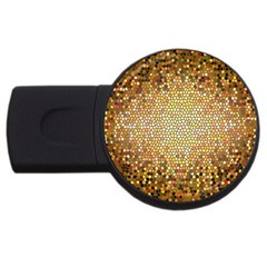 Yellow And Black Stained Glass Effect Usb Flash Drive Round (4 Gb)
