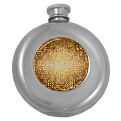 Yellow And Black Stained Glass Effect Round Hip Flask (5 oz)