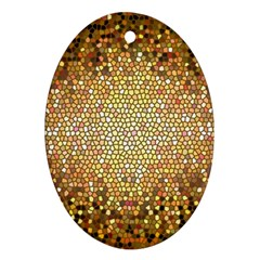 Yellow And Black Stained Glass Effect Oval Ornament (two Sides)