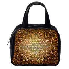 Yellow And Black Stained Glass Effect Classic Handbags (one Side)