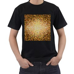 Yellow And Black Stained Glass Effect Men s T Shirt (black)