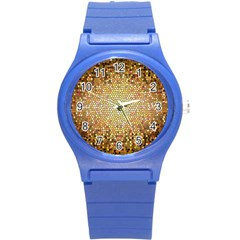 Yellow And Black Stained Glass Effect Round Plastic Sport Watch (s)