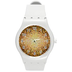 Yellow And Black Stained Glass Effect Round Plastic Sport Watch (m)