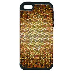 Yellow And Black Stained Glass Effect Apple Iphone 5 Hardshell Case (pc+silicone)