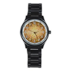 Yellow And Black Stained Glass Effect Stainless Steel Round Watch