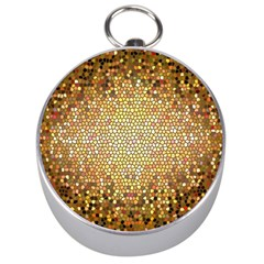 Yellow And Black Stained Glass Effect Silver Compasses