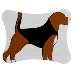 Beagle Silhouette Black Red White Jigsaw Puzzle Photo Stand (Bow)