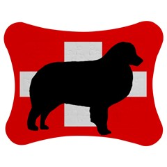 Bernese Mt Dog Silhouette Switzerland Flag Jigsaw Puzzle Photo Stand (Bow)