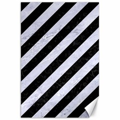 Stripes3 Black Marble & White Marble Canvas 20  X 30