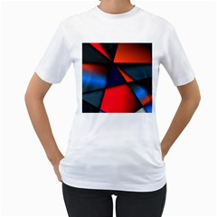 3d And Abstract Women s T-Shirt (White) (Two Sided)