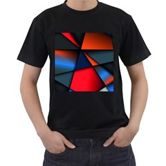 3d And Abstract Men s T-Shirt (Black) (Two Sided)