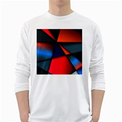 3d And Abstract White Long Sleeve T-Shirts