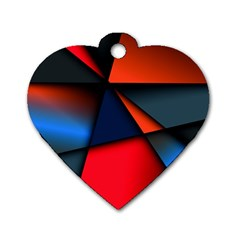 3d And Abstract Dog Tag Heart (Two Sides)