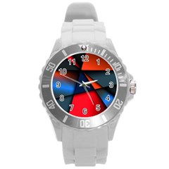 3d And Abstract Round Plastic Sport Watch (L)