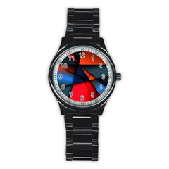 3d And Abstract Stainless Steel Round Watch