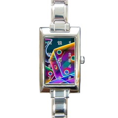 3d Cube Dice Neon Rectangle Italian Charm Watch