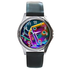 3d Cube Dice Neon Round Metal Watch