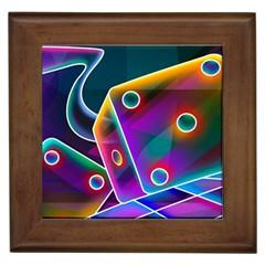 3d Cube Dice Neon Framed Tiles