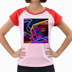 3d Cube Dice Neon Women s Cap Sleeve T-Shirt