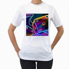 3d Cube Dice Neon Women s T-Shirt (White) (Two Sided)