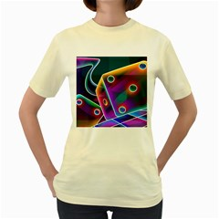 3d Cube Dice Neon Women s Yellow T-Shirt