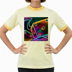 3d Cube Dice Neon Women s Fitted Ringer T Shirts