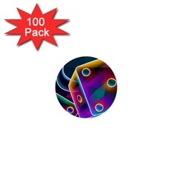 3d Cube Dice Neon 1  Mini Buttons (100 pack)