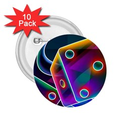3d Cube Dice Neon 2.25  Buttons (10 pack)
