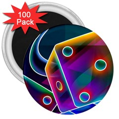 3d Cube Dice Neon 3  Magnets (100 pack)
