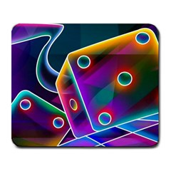 3d Cube Dice Neon Large Mousepads