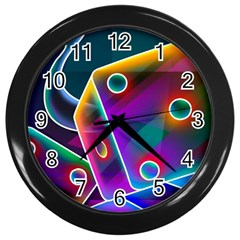 3d Cube Dice Neon Wall Clocks (Black)