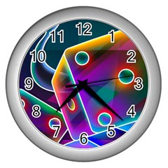 3d Cube Dice Neon Wall Clocks (Silver)