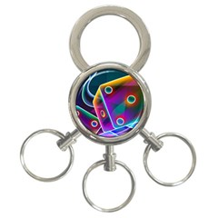 3d Cube Dice Neon 3-Ring Key Chains