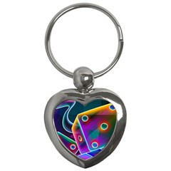 3d Cube Dice Neon Key Chains (Heart)
