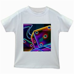 3d Cube Dice Neon Kids White T-Shirts
