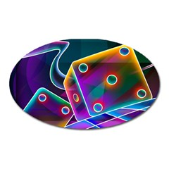 3d Cube Dice Neon Oval Magnet