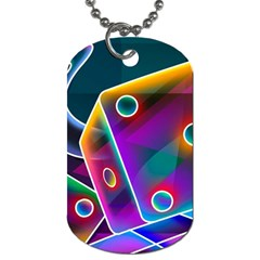 3d Cube Dice Neon Dog Tag (One Side)