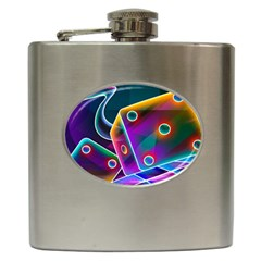 3d Cube Dice Neon Hip Flask (6 oz)